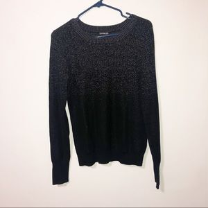 Express black half shimmer crew neck sweater Med